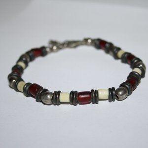 Vintage .925 sterling silver red white bracelet